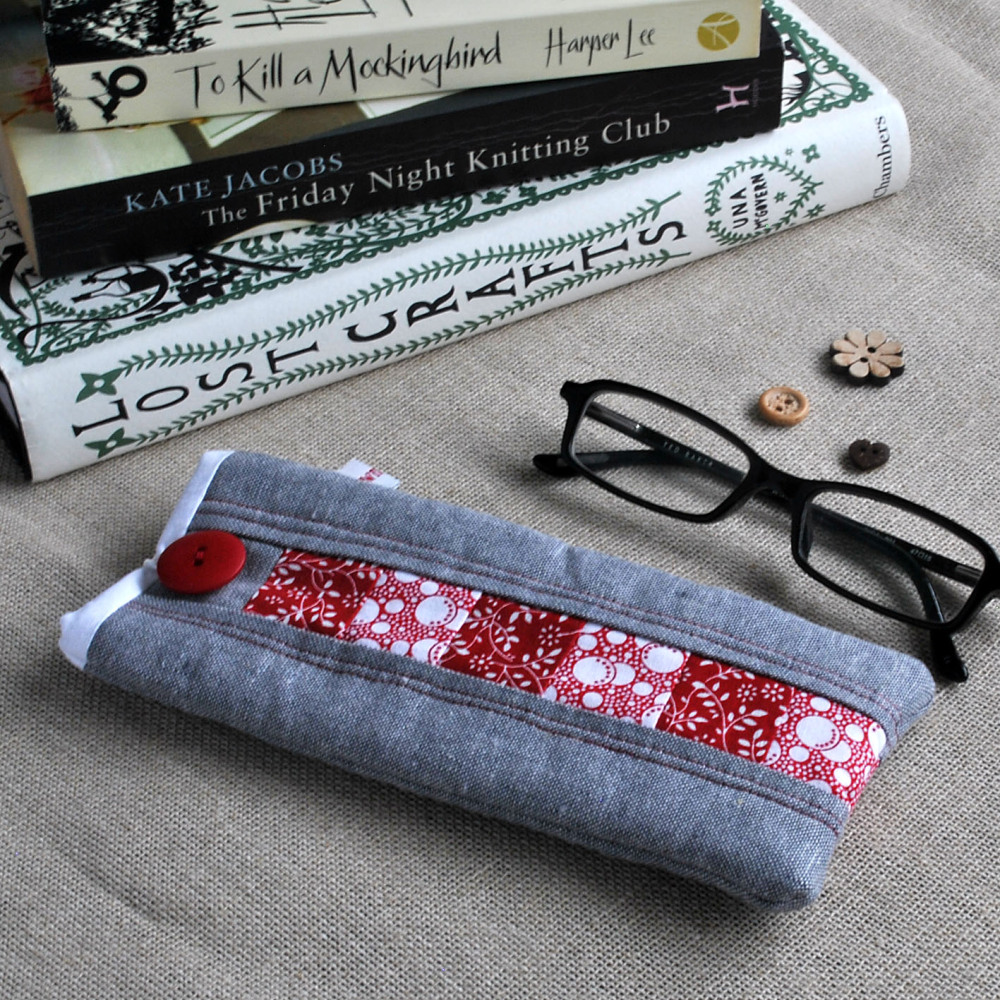 Patchwork Glasses Case in Red, White & Grey
