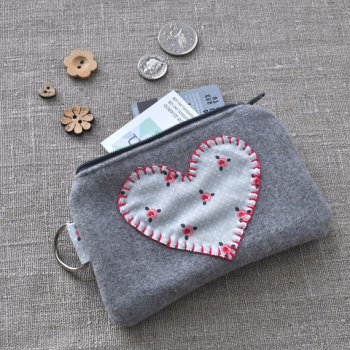 Posy Heart Purse in Pinks on Grey