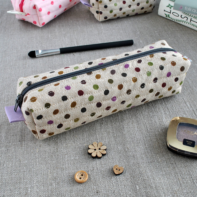 Polka Dot Long Box Pouch in Purples - Make-Up Case, Pencil Case