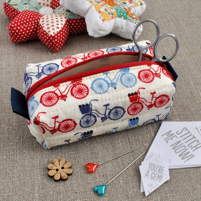 Small Box Pouch in Red & Blue Bicycles - Make-Up Pouch, Sewing Kit