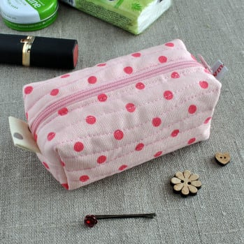 Small Make-Up Case in Pink Polka Dots - Cosmetics Bag, Sewing Notions Pouch