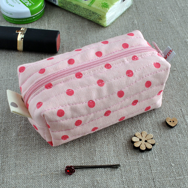 Small Box Pouch in Pink Polka Dots - Make-Up Case, Sewing Kit