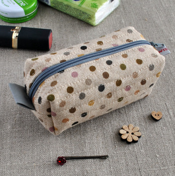 Small Make-Up Case in Brown Polka Dots on Linen - Cosmetics Bag, Sewing Notions Pouch