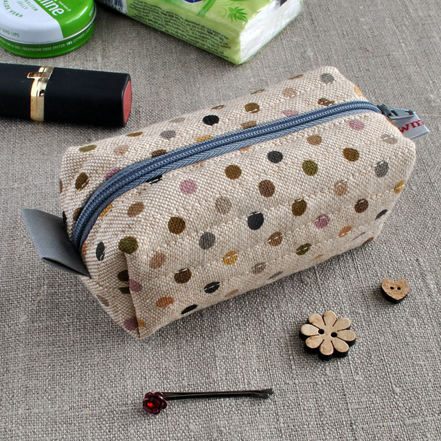 Small Box Pouch in Brown Polka Dots on Linen - Make-Up Pouch, Sewing Kit