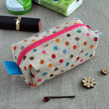 Small Make-Up Case in Multi-Coloured Polka Dots - Cosmetics Bag, Sewing Notions Pouch