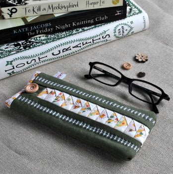 Patchwork Glasses Case in Green & Yellow Florals on Linen