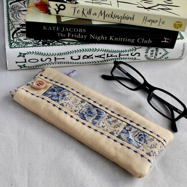 Patchwork Glasses Case in Cream & Blue