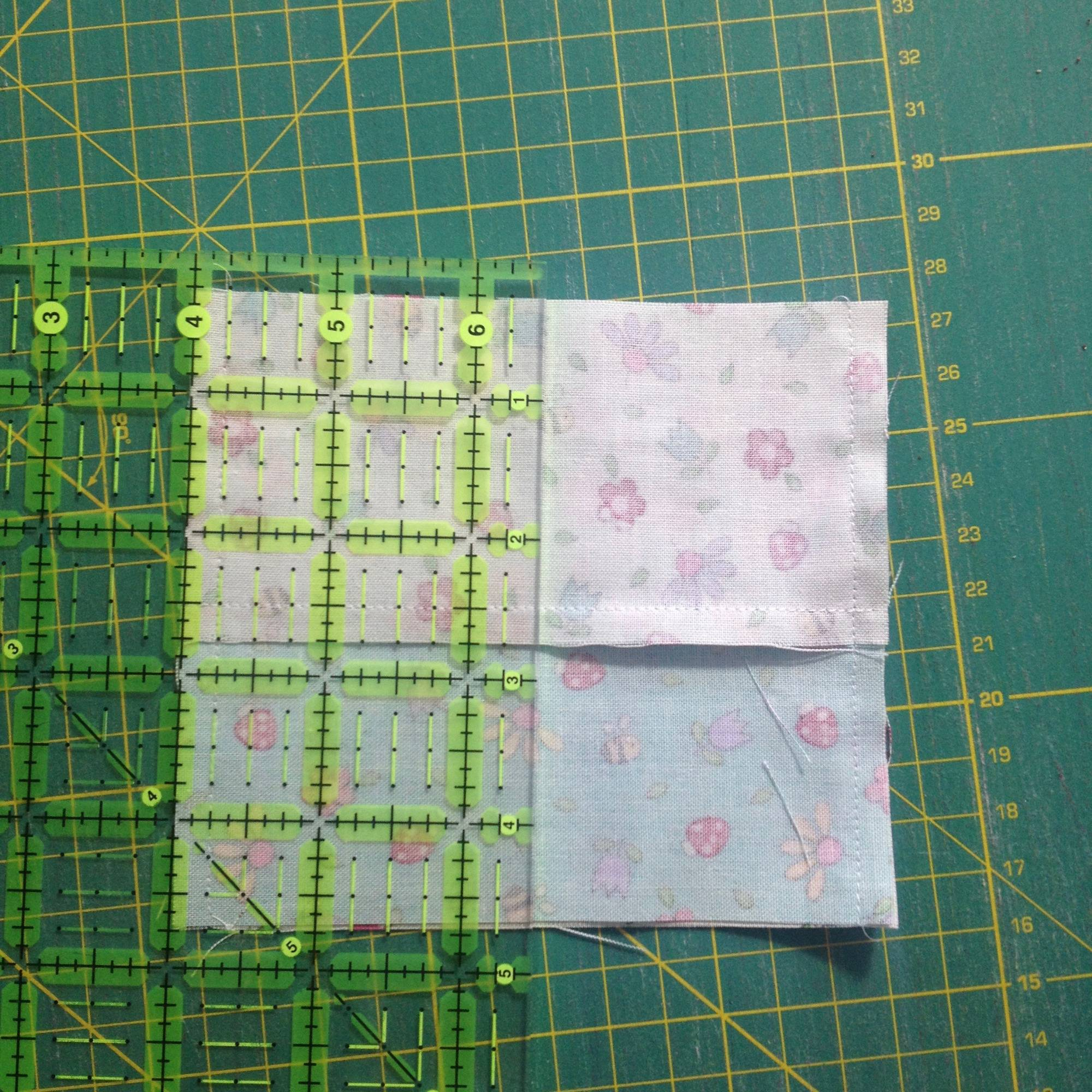 four-patch from two charm sqaures