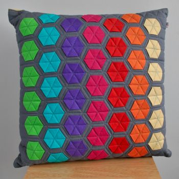 Funky Rainbow Hexagon Cushion