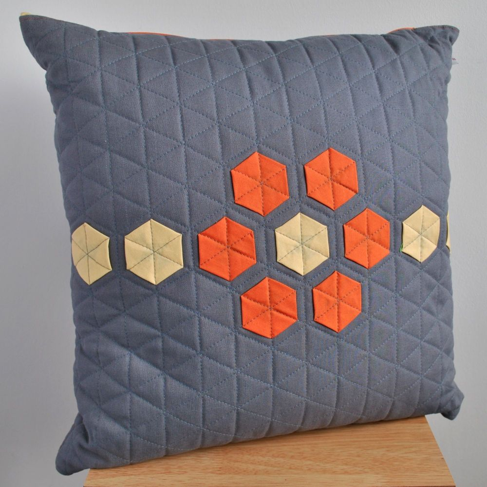 Hexagon Cushion in Grey & Yellow