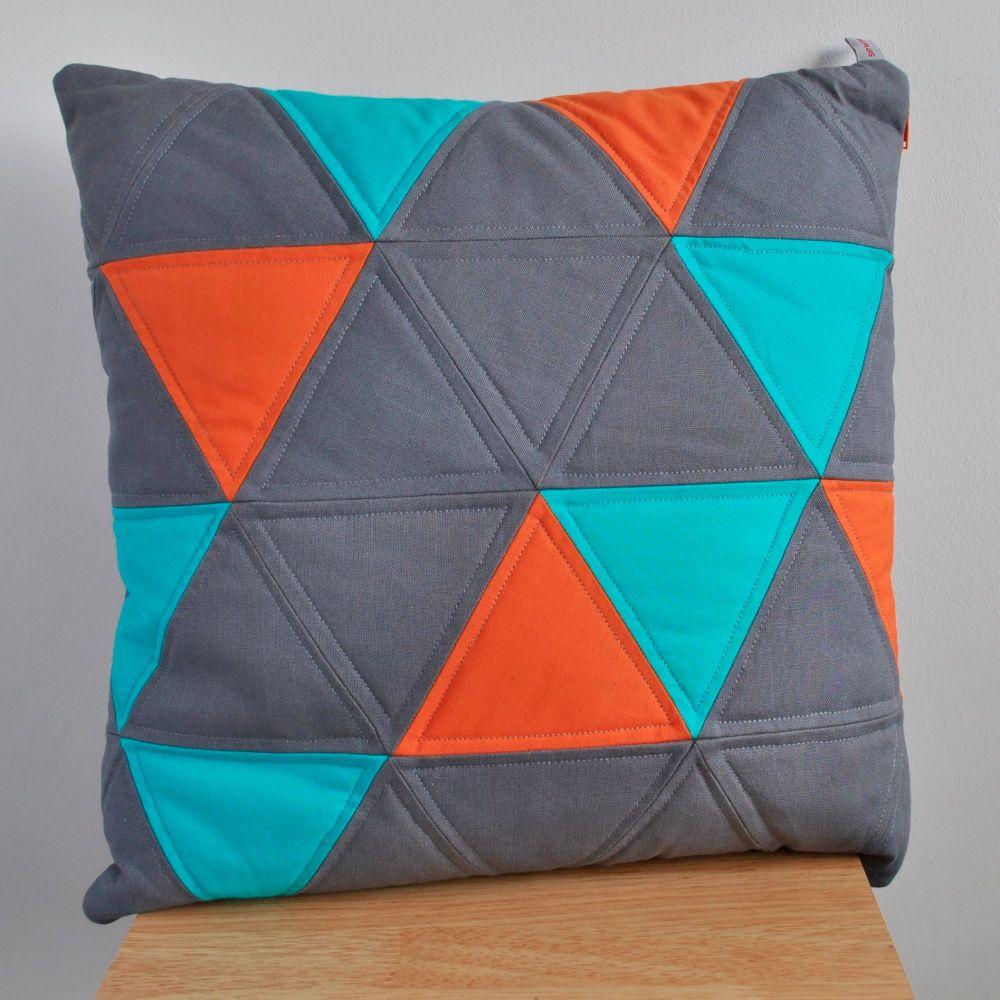 Triangles Cushion in Blue, Orange & Grey