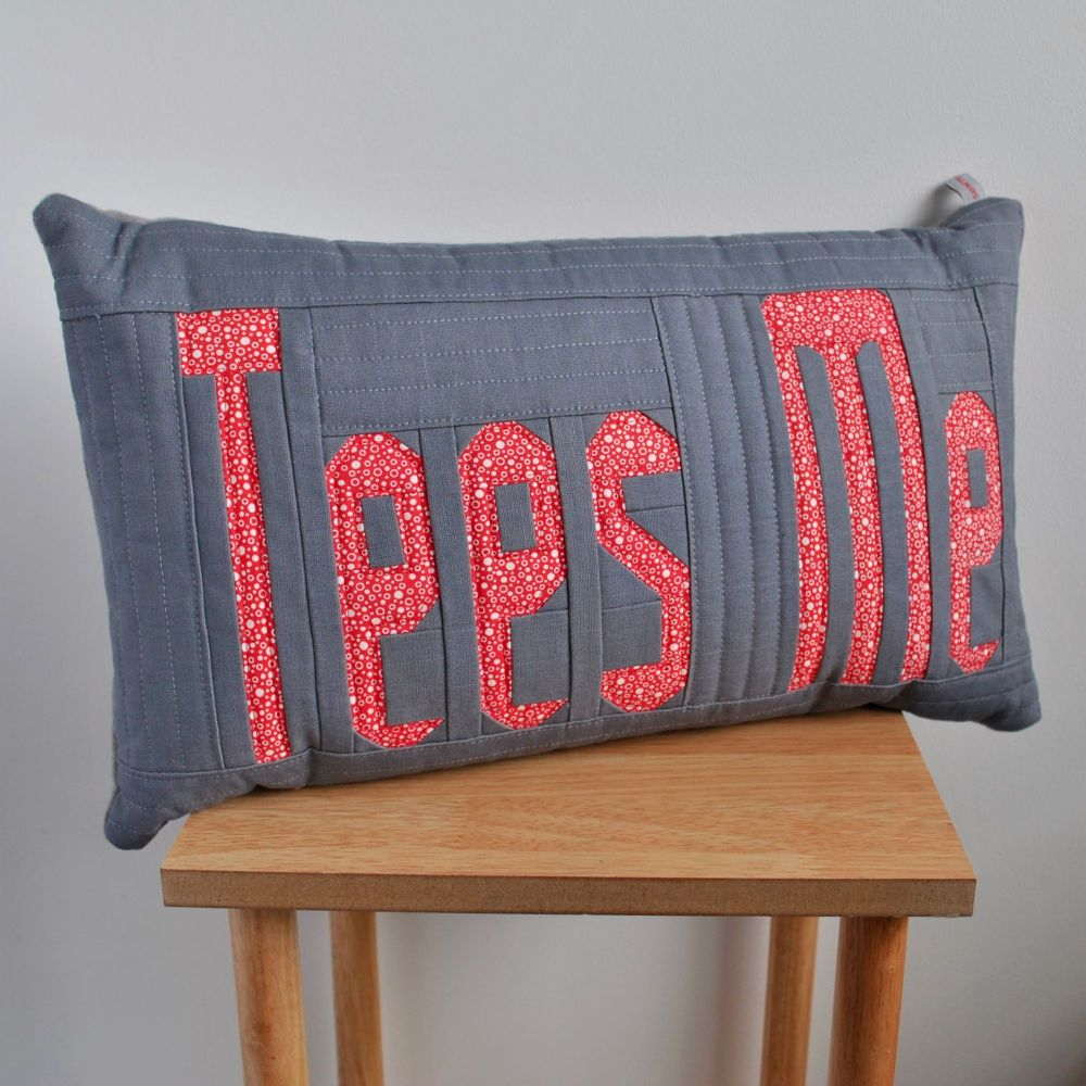 Tees Me Cushion in Red, White & Grey