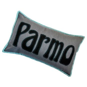 Teesside Collection: Parmo Cushion in Grey, Turquoise & White