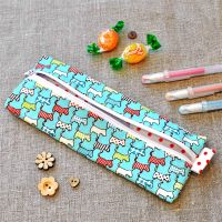 Small Pencil Case in Blue Scottie Dogs