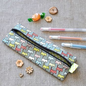 Small Pencil Case in Grey Scottie Dogs
