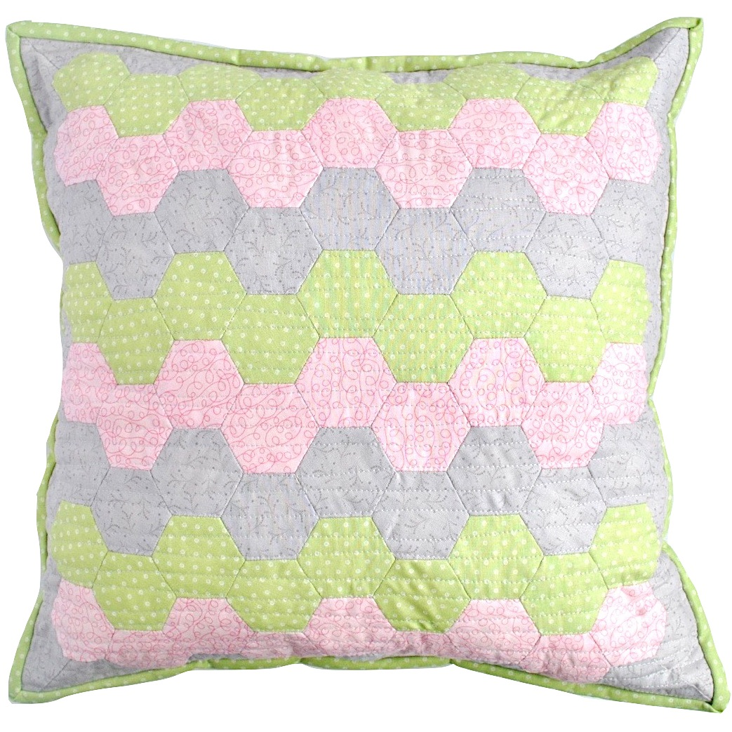Hexy Cushion Kit in Green, Pink & Grey