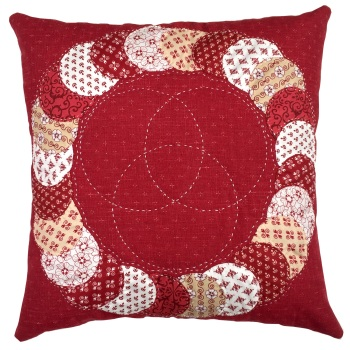 Overlapping Red & White Cushion Kit in Coonawarra Red - English Paper-Piecing Kit