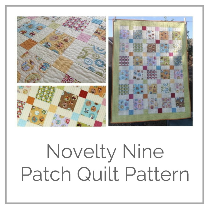 Free quilt pattern tutorial on the disappearing nine patch block using novelty fabrics