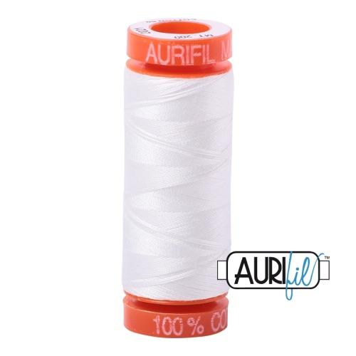 <!-- 001 -->Aurifil Mako 50 Cotton / 200m - White - 2024