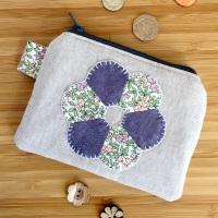 EPP Flower Purse Kit in Liberty Purple - English Paper-Piecing Purse Kit