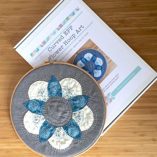 Curved EPP Flower Hoop Art Kit in Blue Trees