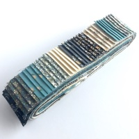 Bloom 40pc Strip Set in Grey & Blue - Quilting Pre-cut, Jelly Roll