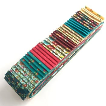 Bloom in Pink and Turquoise 40pc Strip Set - Quilting Pre-Cut, Jelly Roll