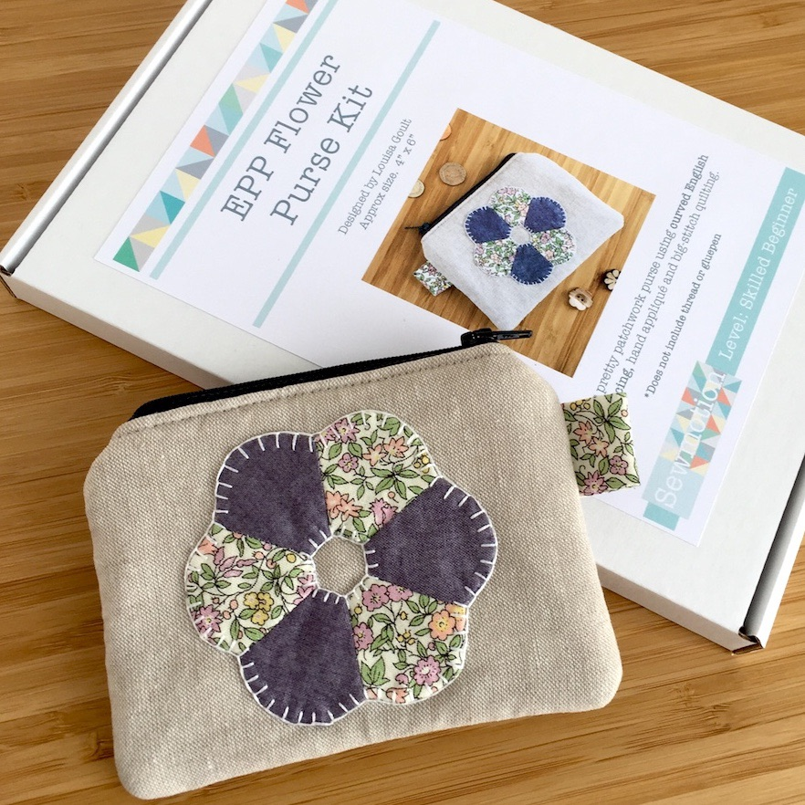 EPP Flower Purse Kit in Liberty Purple - English Paper-Piecing Purse Kit