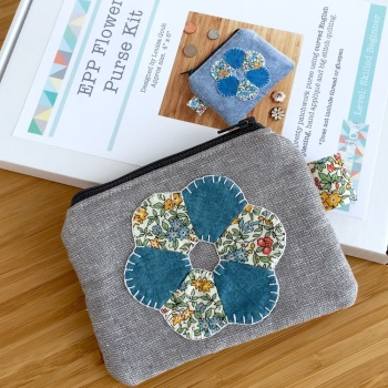 EPP Flower Purse Kit in Liberty Blue - English Paper-Piecing Purse Kit
