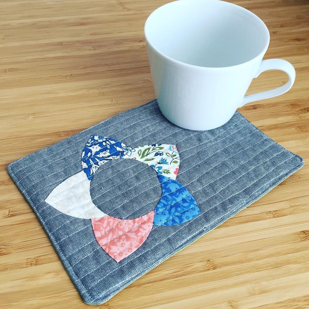 EPP Mug Rug Kit in Liberty Blues - English Paper-piecing Kit