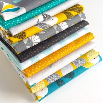 Nesting Birds Fat Quarter Bundle in Light Blues - 11pc