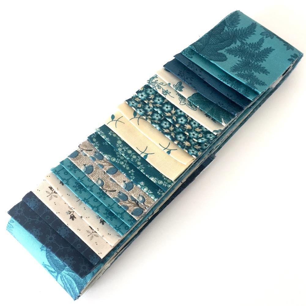 Royal Blue 20pc Strip Set - Quilting Pre-cut, Jelly Roll, Edyta Sitar