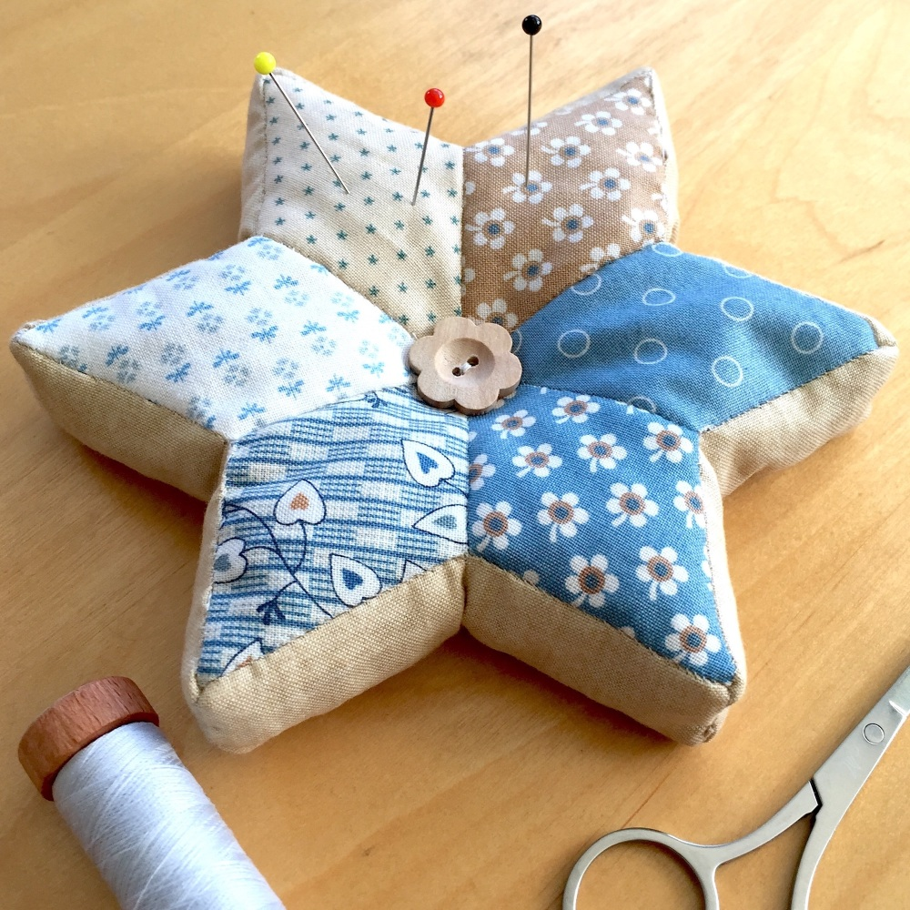 EPP Star Pincushion Kit in Blue Sky Prints - English Paper-Piecing Pincushi
