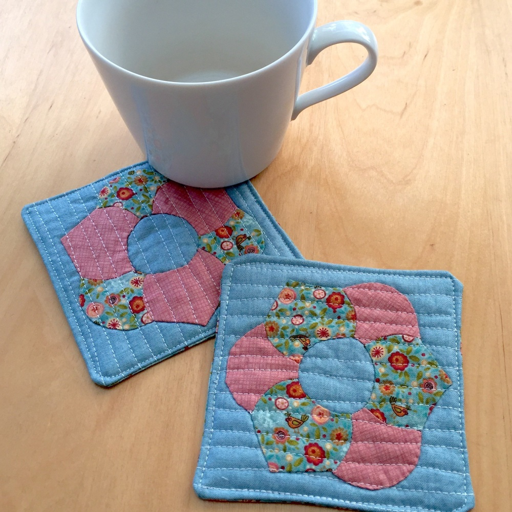 EPP Flower Coasters Kit in Pink (Pair) - English Paper-piecing Kit