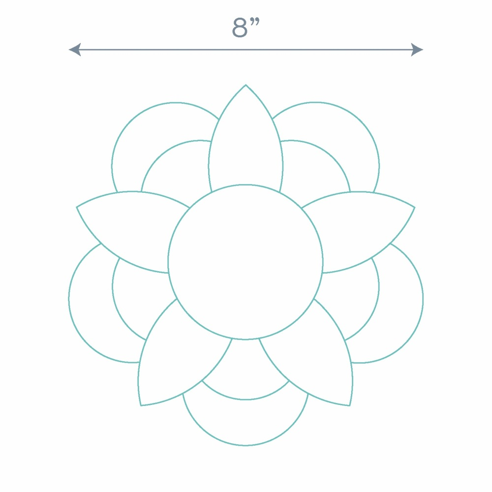 Five Petal Flower Ring Paper Pieces - 60 Pre-cut Papers for Curved English