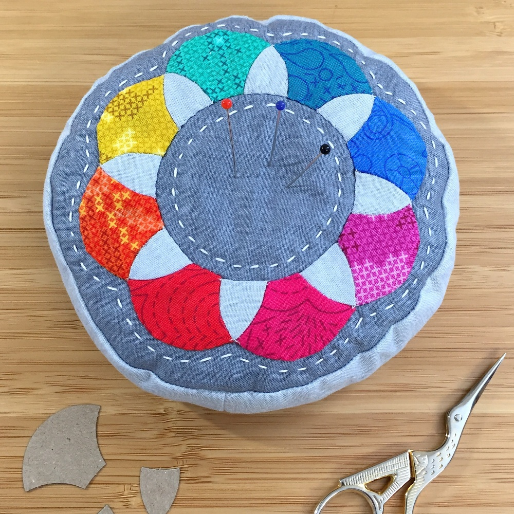 EPP Pincushion Kit in Rainbow Sun Prints - Patchwork Pincushion Kit in Alis