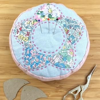 EPP Flower Pincushion Kit in Liberty Pink - Patchwork Pincushion Kit