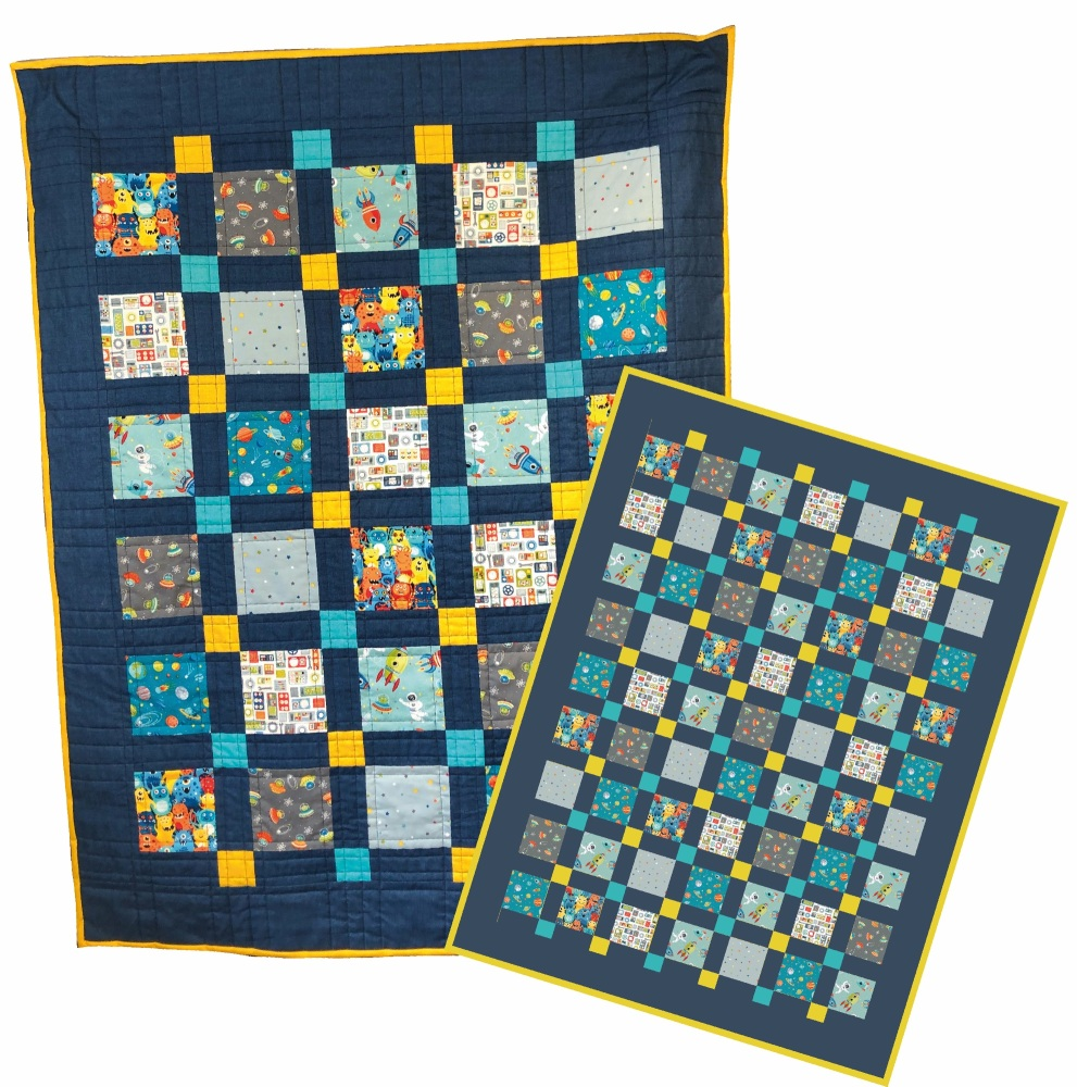 <!-- 001 -->Outer Space Nine Patch Quilt Kit - Two sizes available