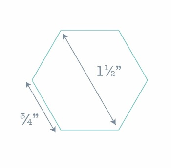 """Hexagon Paper Pieces - 100 Pre-cut Papers for English Paper-piecing - 0.75"""" along the side"""