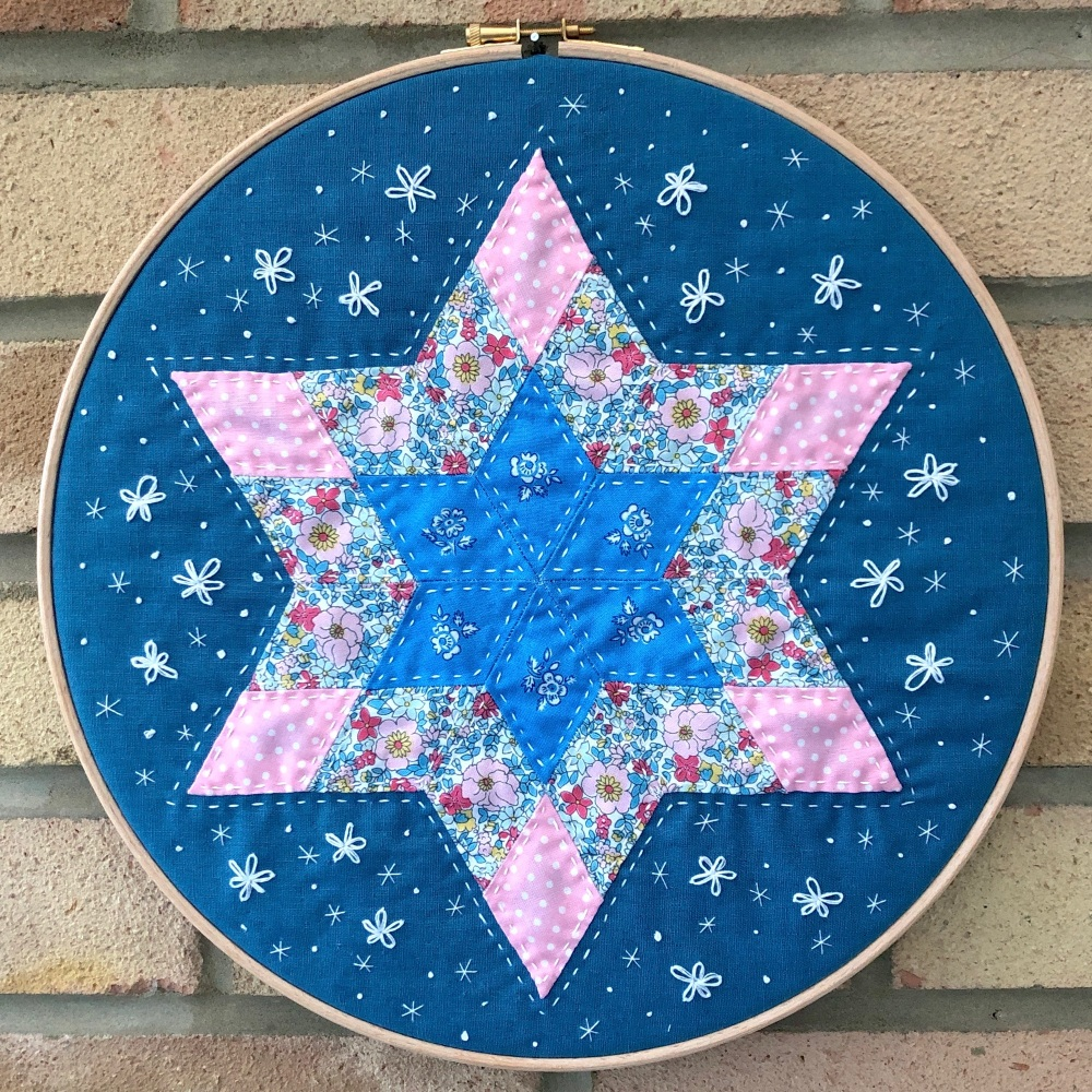 <!-- 001 -->Diamond Star Hoop Art Kit in Liberty - English Paper-piecing Ki