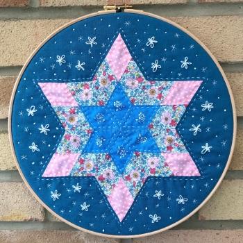"""Diamond Star Hoop Art Kit in Liberty - English Paper-piecing Kit - 12"""""""