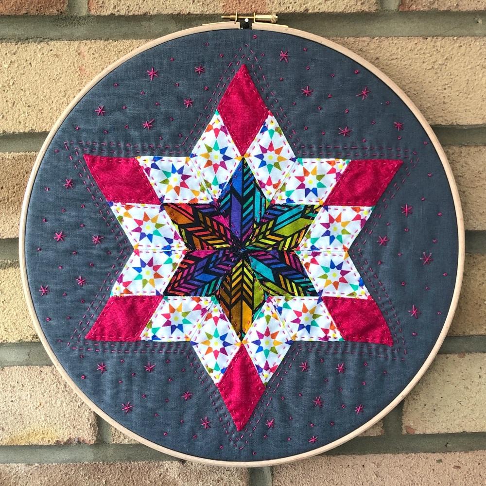 <!-- 001 -->Diamond Star Hoop Art Kit in Alison Glass - English Paper-pieci