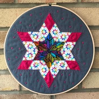 "Diamond Star Hoop Art Kit in Alison Glass - English Paper-piecing Kit - 12"""