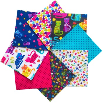 Quilter's Pre-cut 42pc Charm Pack in Katie's Cats
