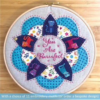 """Garland Hoop Art Kit in Katie's Cats - Curved English Paper-piecing Kit - 8"""""""