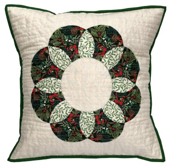Curved EPP Flower Cushion Kit in Christmas Yuletide Green - English Paper-piecing Cushion Kit