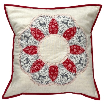 Curved EPP Flower Cushion Kit in Christmas Scandi Grey - English Paper-piecing Cushion Kit