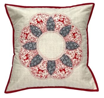 Curved EPP Flower Cushion Kit in Christmas Scandi Red - English Paper-piecing Cushion Kit