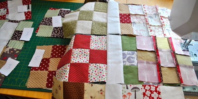 sewing nine patch rows