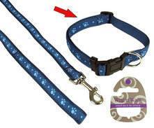 Wag & Walk Blue Paw Collar